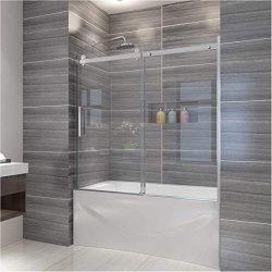 ELEGANT 60″ W x 62″ H Frameless Tub Door, 5/16″ Clear Glass Sliding Bathtub Sh ...