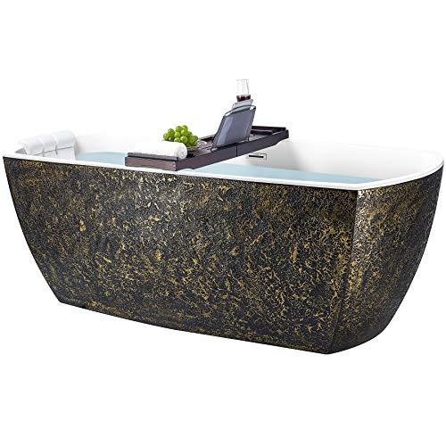 AKDY Freestanding Bathtub – 69 Inch Black & Gold Acrylic Tub for Bathroom – Flat ...