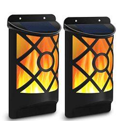 Solar Flame Lights Outdoor, Aityvert Waterproof Flickering Flame Wall Lights with Dark Sensor Au ...