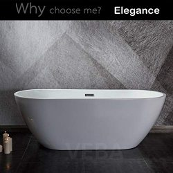 55 inch Freestanding Tub, cUPC Certificated, Small Free Standing Acrylic Bathtub with Overflow,  ...