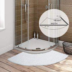 Seavish Luxury White Shag Curved Bath Rug, 18 x 57 inch Non Slip Microfiber Soft Absorbent Fanne ...