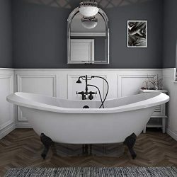 73″ Acrylic Double Ended Slipper Clawfoot Bathtub with Oil Rubbed Bronze Gooseneck Freesta ...