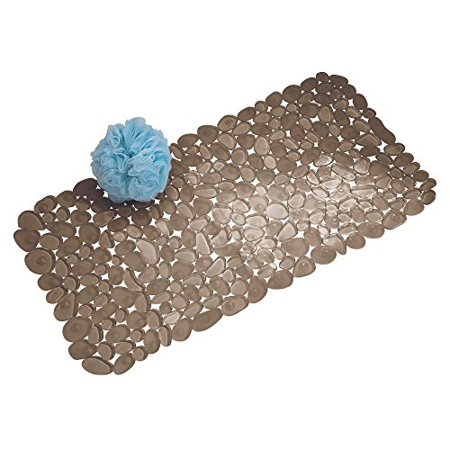 iDesign Pebblz Suction Non-Slip Bath Mat for Shower, Bathtub, Stall, 26″ x 13.5″, Brown