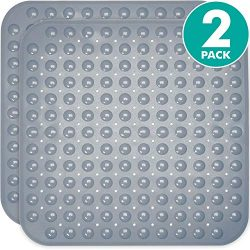 Sierra Concepts 2-Pack Gray Color Square Shower, Bathtub, Bath and Tub Mat (21×21), Machine ...