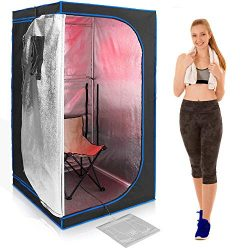 SereneLife SLISAU30BK Full Size Portable Sauna – Infrared Heating Personal Home S, Black ( ...