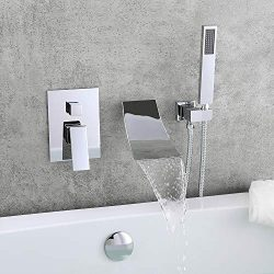 KunMai Waterfall Wall-Mount Tub Faucet with Handheld Shower,Chrome Waterfall Spout Bathtub Fauce ...