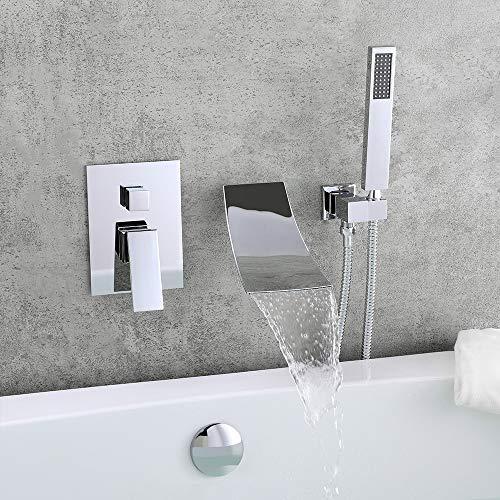 KunMai Waterfall Wall-Mount Tub Faucet with Handheld Shower,Chrome Waterfall Spout Bathtub Fauce ...