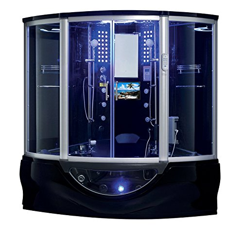 SUPERIOR Steam Shower Sauna with Heated Jetted jacuzzi Whirlpool Massage Bathtub Spa Tub with Te ...