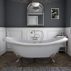 73″ Acrylic Double Ended Slipper Clawfoot Bathtub with Brushed Nickel Gooseneck Freestandi ...