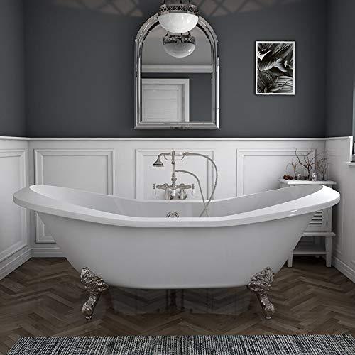 73″ Acrylic Double Ended Slipper Clawfoot Bathtub with Brushed Nickel Gooseneck Freestandi ...