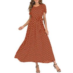 Mikilon Women Casual Boho Summer Maxi Dresses Polka Dot Short Sleeve Swing Dress with Belt Brown