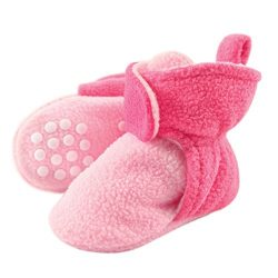 Luvable Friends Baby Cozy Fleece Booties with Non Skid Bottom, Light Pink/Dark Pink, 6-12 Months