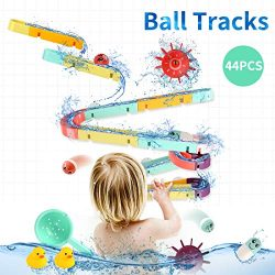 ELOT Bath Toys Slide Splash Water Ball Track Stick to Wall Bathtub for Toddlers DIY Waterfall Pi ...