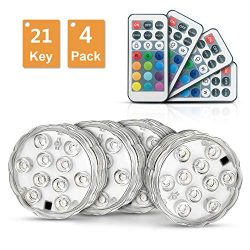 Submersible Led Lights Waterproof Multi-color with Remote Control UNPAD Underwater Battery Light ...