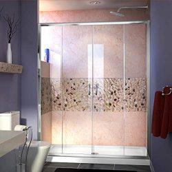 DreamLine Visions 56-60 in. W x 72 in. H Semi-Frameless Sliding Shower Door in Chrome, SHDR-1160 ...