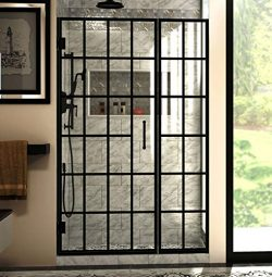 DreamLine Unidoor Toulon 46-46 1/2 in. W x 72 in. H Frameless Hinged Shower Door in Satin Black, ...
