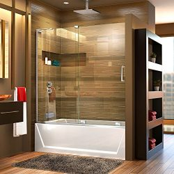 DreamLine Mirage-X 56-60 in. W x 58 in. H Frameless Sliding Tub Door in Chrome; Left Wall Instal ...
