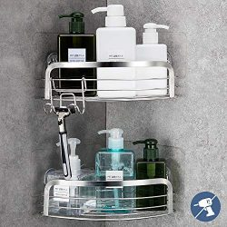 LUXEAR 2 Pack Corner Shower Caddy with Hook Rustproof – Reusable Adhesive Shower Corner Sh ...