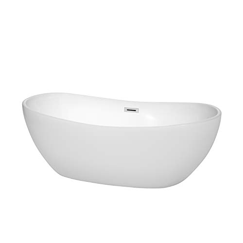 Wyndham Collection Rebecca 65 inch Freestanding Bathtub in White with Polished Chrome Drain and  ...
