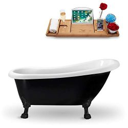 Streamline | Clawfoot 61″ N481BL Acrylic Bathtub, Black | Comes with Internal Drain | Bamb ...