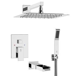 SR SUN RISE Tub Spout Shower System Combo Set with 12 Inches Rain Shower Head and Handheld Showe ...