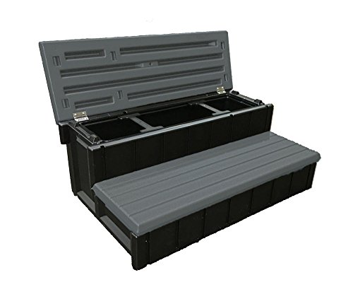Confer Plastics Outdoor Spa Storage Steps Deep Gray