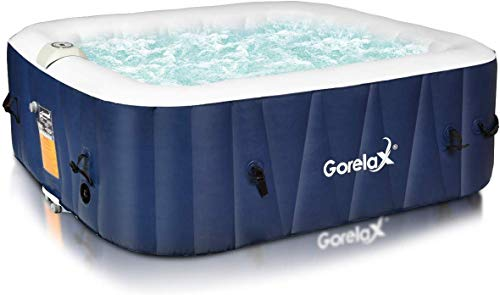 Goplus 4-6 Person Portable Outdoor Spa, Inflatable Hot Tub, Jets Bubble Massage Relaxing Massage ...