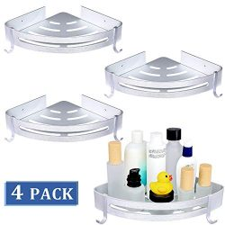 Brobery 4 Packs Bathroom Corner Shower Shelf, No Drilling Corner Caddy Aluminum Shelf with Hooks ...
