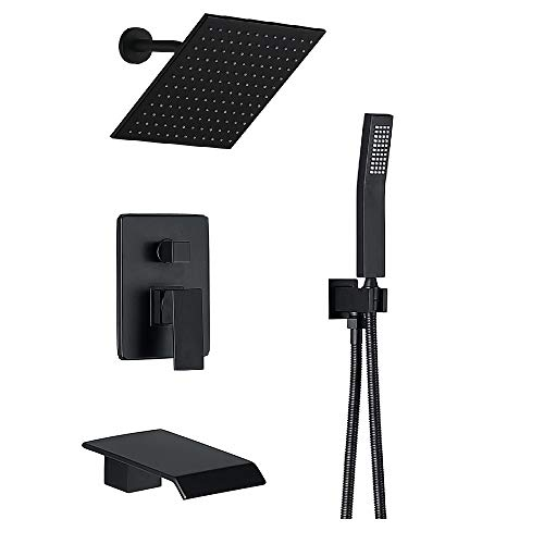 Shower System Matte Black Wall Mount Bathroom Shower Fixtures with 8 inch Rain Shower Head and W ...