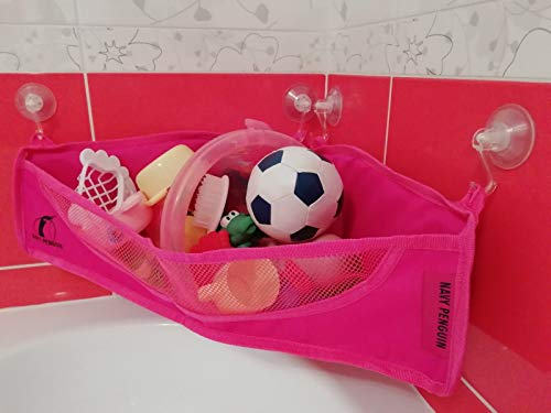 Bath Toy Organizer – BOTH Suction Cups and Stickers for Hanging – Bathtub Toys Holde ...