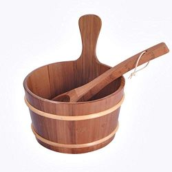 Amasstu Sauna Bucket with Ladle, 4 Liter Natural Cedar Handmade Wooden Sauna Bucket Sauna Spa Ba ...