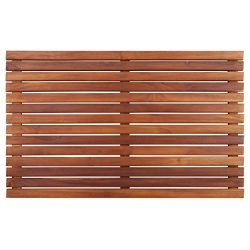 Nordic Style Teak Shower and Bath Mat – Heavy-Duty and Dark-Oiled for Indoor and Outdoor U ...