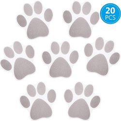 20 Pieces Non-slip Bathtub Stickers Adhesive Paw Print Bath Treads Non Slip Traction to Tubs Bat ...