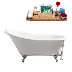 Streamline | Clawfoot Soaking 60″ R5120CH-CH Cast Iron Bathtub, White | Comes with Externa ...