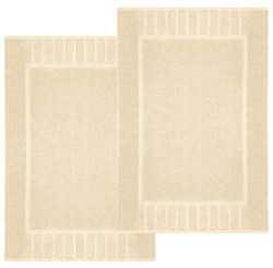 White Classic Luxury Bath Mat Floor Towel Set – Absorbent Cotton Hotel Spa Shower/Bathtub  ...