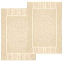 White Classic Luxury Bath Mat Floor Towel Set – Absorbent Cotton Hotel Spa Shower/Bathtub  ...