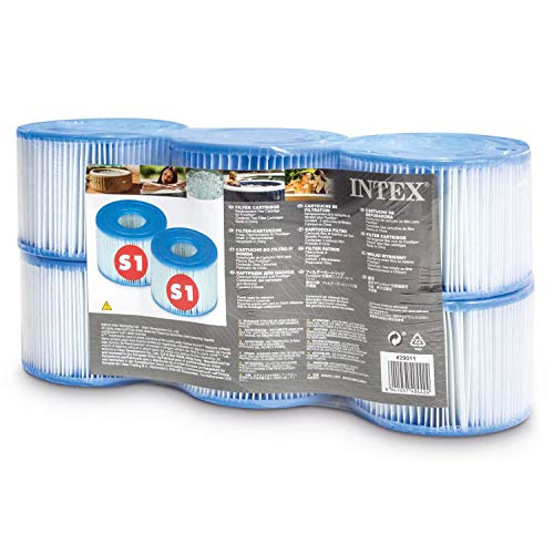 Intex 29011E Type S1 PureSpa Easy Set Pool Spa Hot Tub Filter Replacement Cartridges (6 Filters) ...