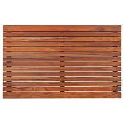 Nordic Style Dark Oiled Teak Shower and Bath Mat with Wide End Slat – Indoor and Outdoor U ...
