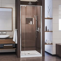 DreamLine Flex 28-32 W x 72 H Inch Semi-Frameless Pivot Shower Door, Chrome