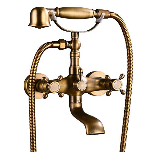 ORLEIMI Wall Mount Antique Brass Bathtub Faucet with Hand Shower Sprayer Bathroom Tub Faucet Dou ...