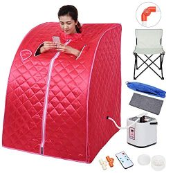 ZeHuoGe Red Portable Steam Sauna Kit SPA Detox 2L Steamer Digital Display Remote 9-Level Tempera ...