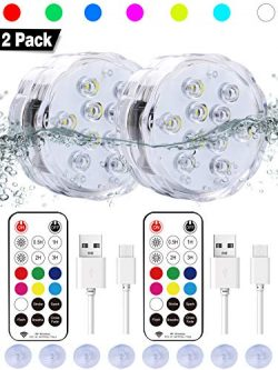 Qoolife Rechargeable Submersible led lights- Magnetic submersible lights Remote Controlled RGBW  ...