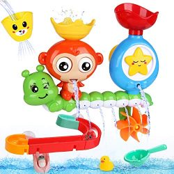 BBLIKE Bath Toys, Bath Wall Toy with Waterfall Station Toy Bath Track, Bath Toys for Toddlers Ki ...