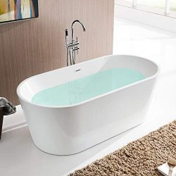 Vanity Art 59 Inch Freestanding Acrylic Bathtub | Modern Stand Alone Soaking Tub with Chrome Fin ...