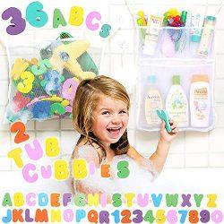 Tub Cubby Bath Toy Organizer Double Twin – 2 Bins +36 ABC 123 Soft Foam Bathtub Letters &a ...